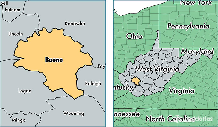 location of Boone county on a map