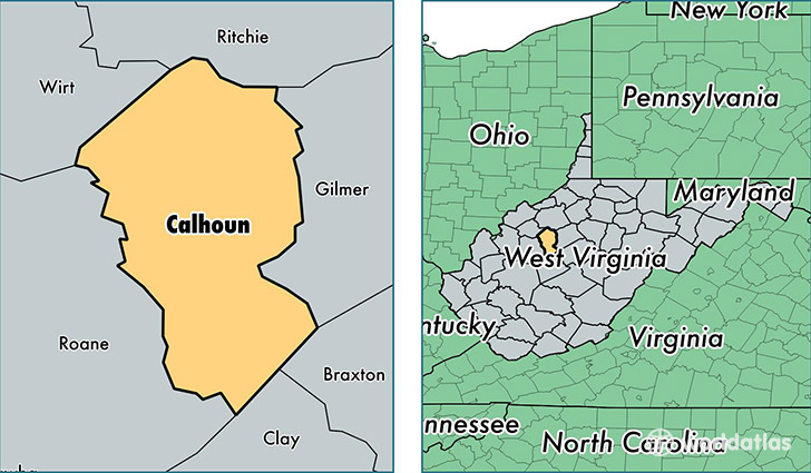location of Calhoun county on a map