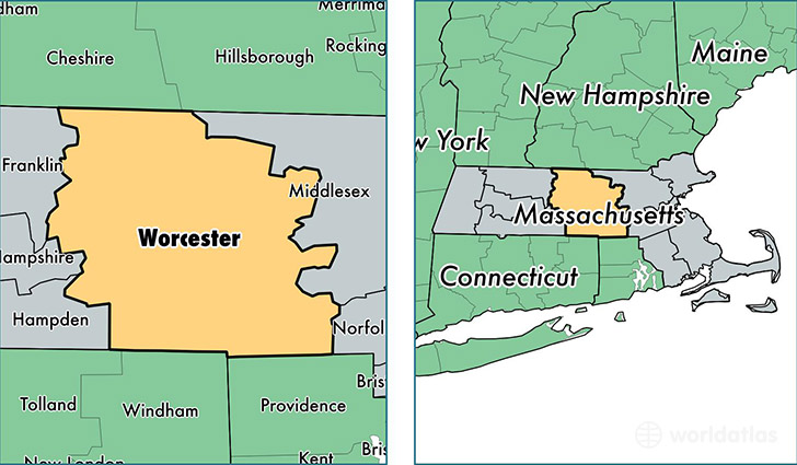 location of Worcester county on a map