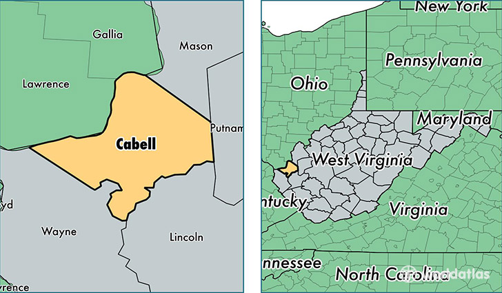 location of Cabell county on a map
