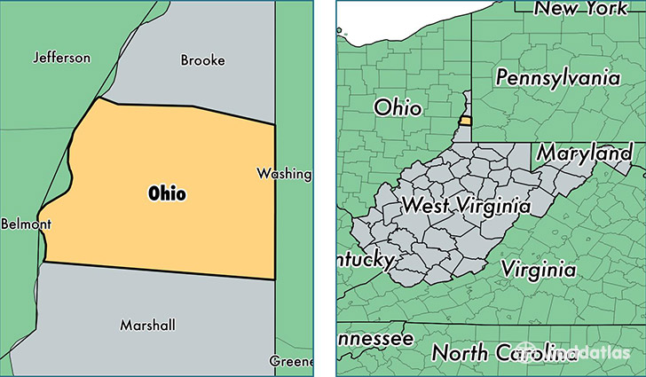 location of Ohio county on a map