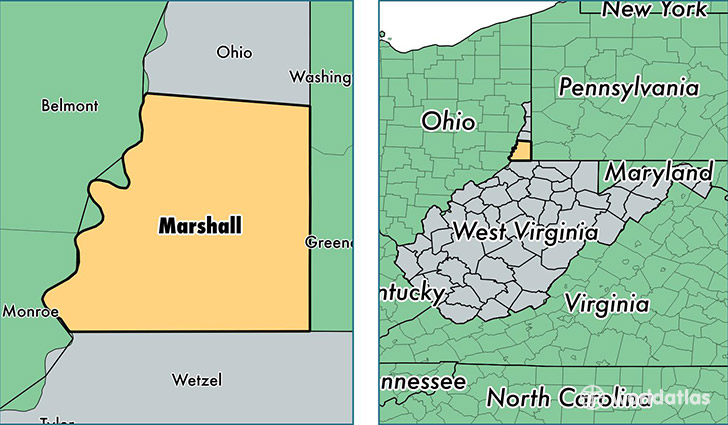 location of Marshall county on a map