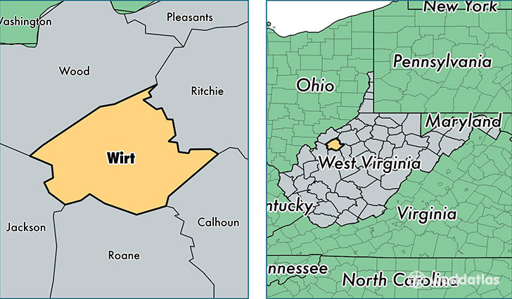 location of Wirt county on a map