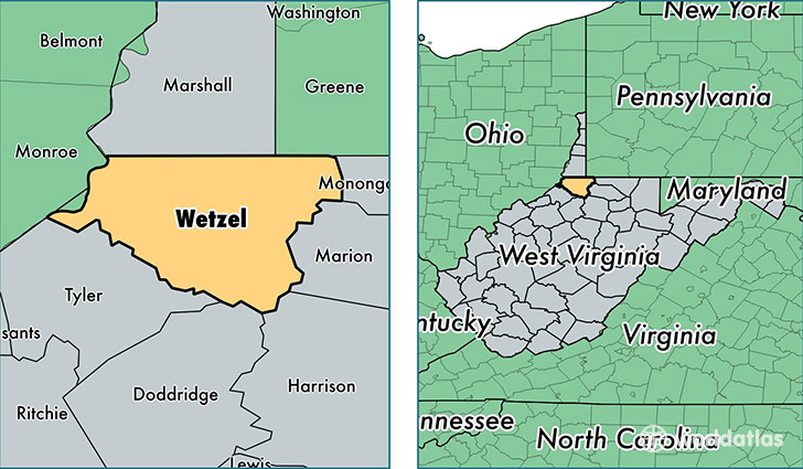 location of Wetzel county on a map