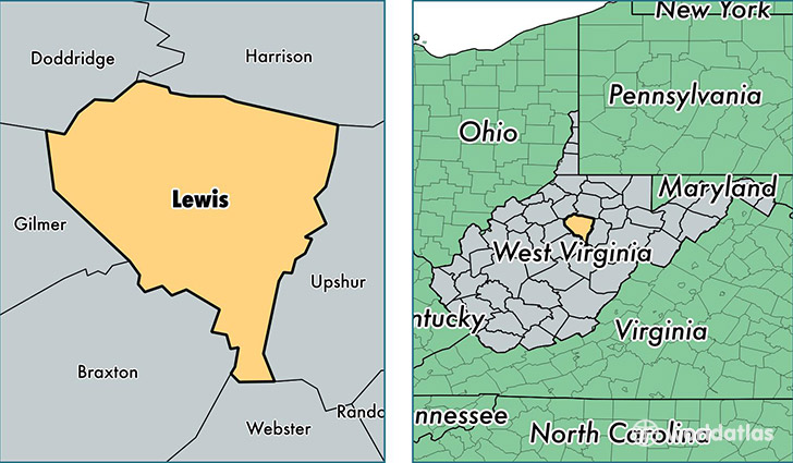 location of Lewis county on a map