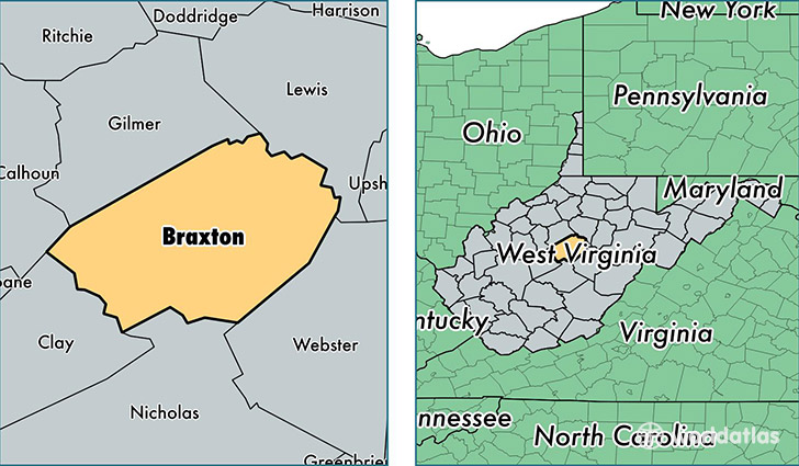 location of Braxton county on a map