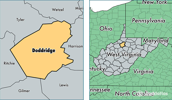 location of Doddridge county on a map