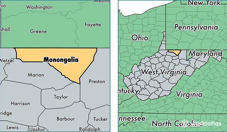 location of Monongalia county on a map