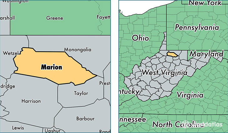 Marion Virginia Map.Marion County West Virginia Map Of Marion County Wv Where Is