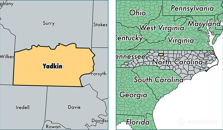 location of Yadkin county on a map