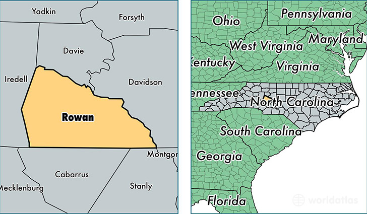 location of Rowan county on a map