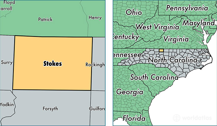 location of Stokes county on a map