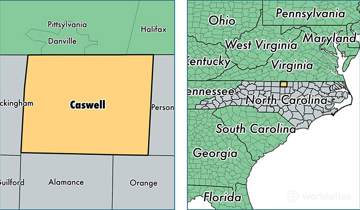 location of Caswell county on a map