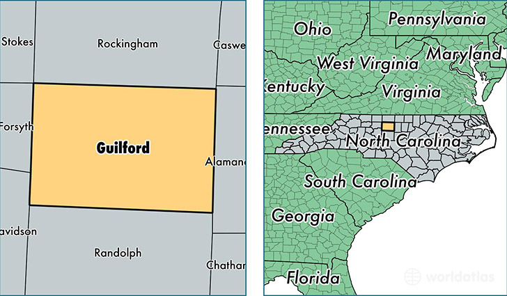 location of Guilford county on a map