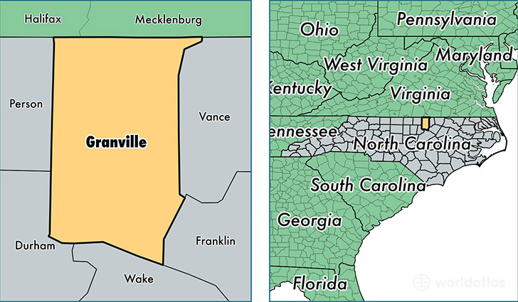 location of Granville county on a map