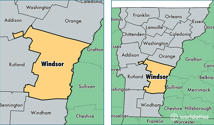 location of Windsor county on a map