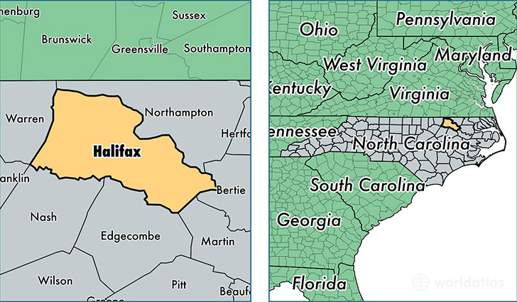 location of Halifax county on a map