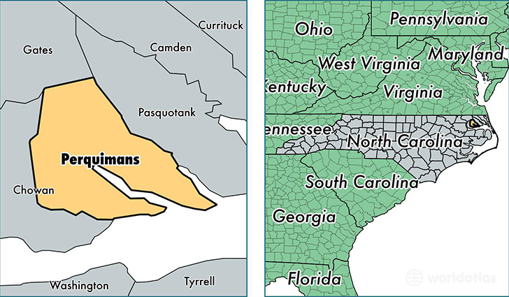 location of Perquimans county on a map