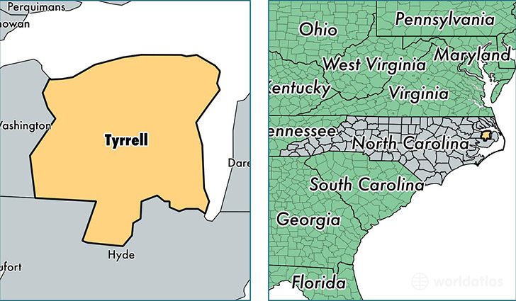 location of Tyrrell county on a map