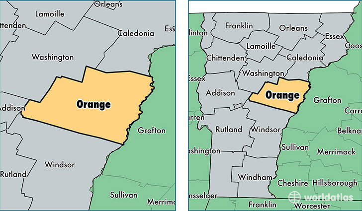 Orange County Vermont Map Of Orange County VT Where Is - Vermont in usa map