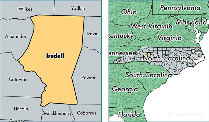 location of Iredell county on a map
