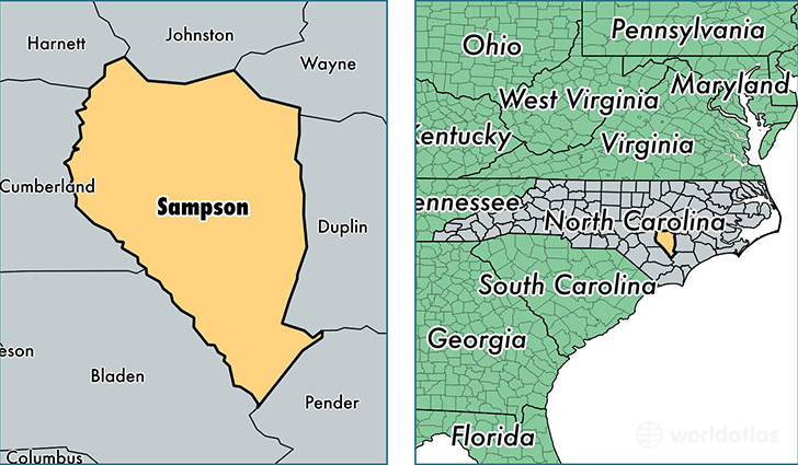 location of Sampson county on a map