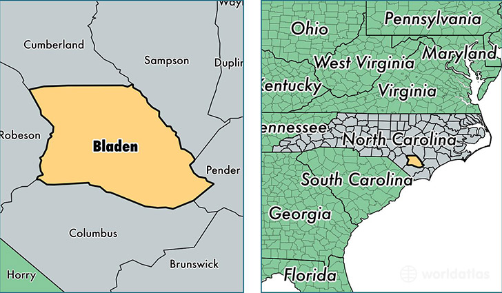 location of Bladen county on a map