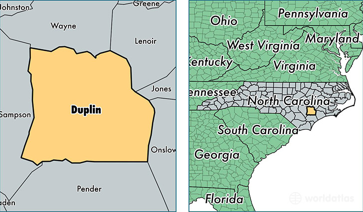 location of Duplin county on a map