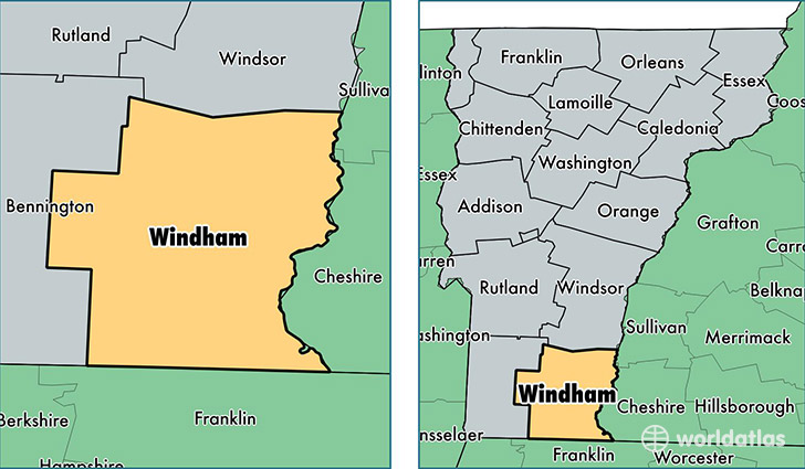 Windham County Vermont Map Of Windham County VT Where Is - Us map vermont