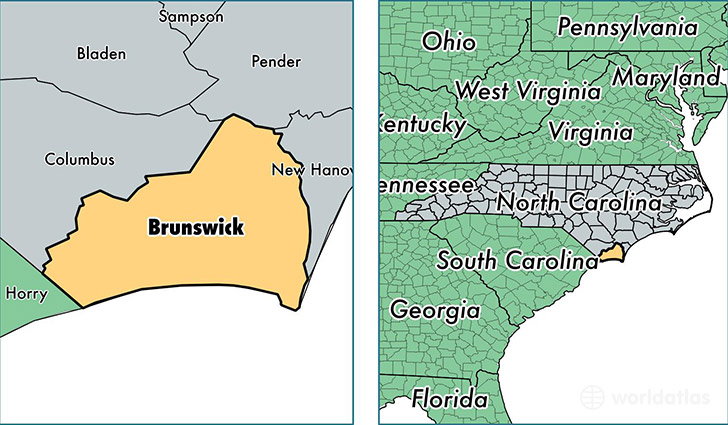 Brunswick County, North Carolina / Map of Brunswick County, NC