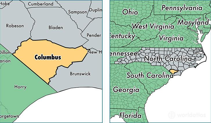 Columbus County North Carolina  Map Of Columbus County