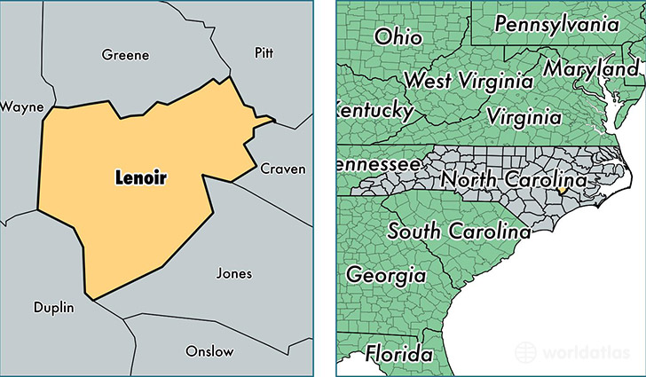 location of Lenoir county on a map