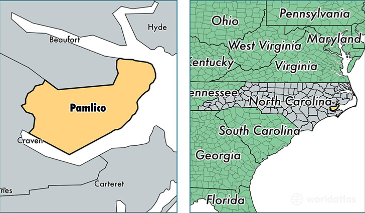 location of Pamlico county on a map
