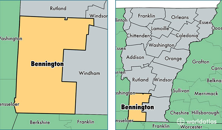 location of Bennington county on a map