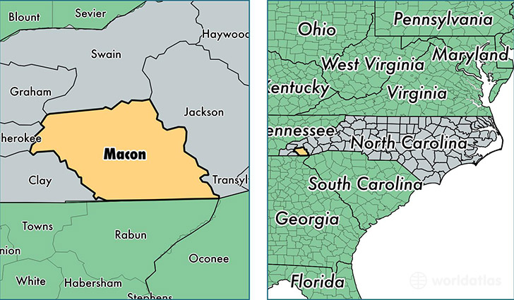 Macon County North Carolina Map Of Macon County Nc Where Is