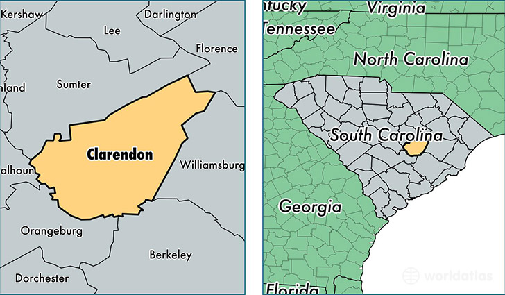 location of Clarendon county on a map