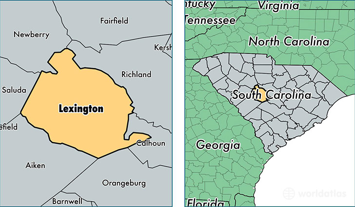 location of Lexington county on a map