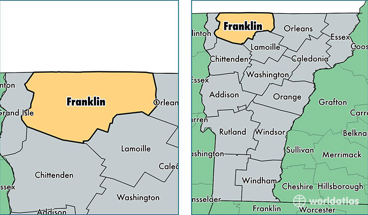 Franklin County Vermont Map Of Franklin County Vt Where Is