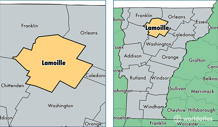 location of Lamoille county on a map