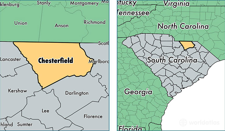 location of Chesterfield county on a map