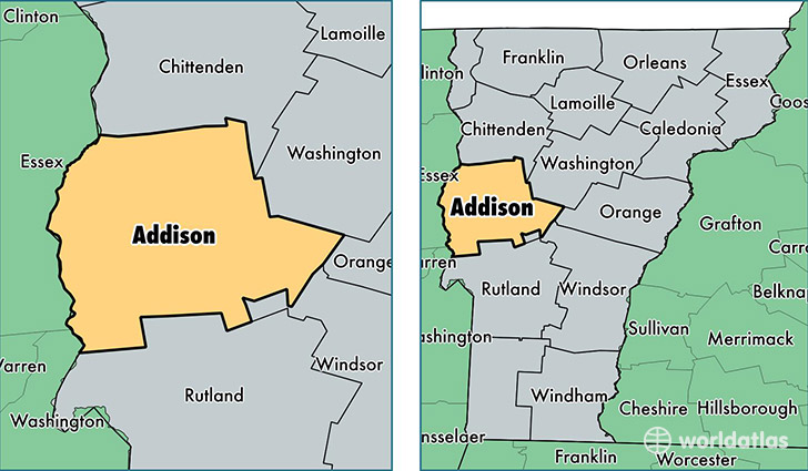 location of Addison county on a map