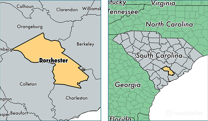 location of Dorchester county on a map