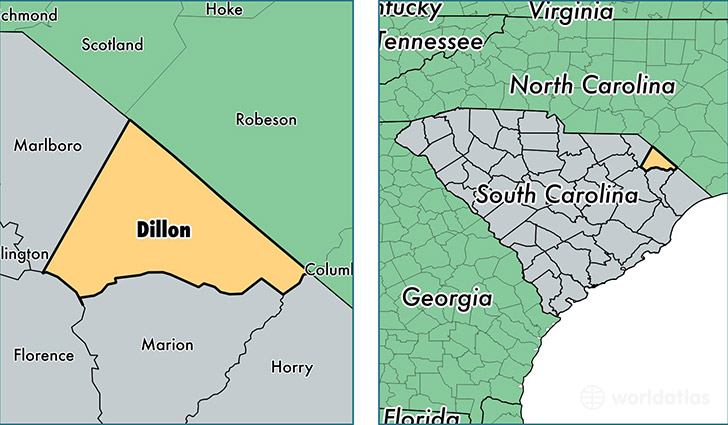 location of Dillon county on a map