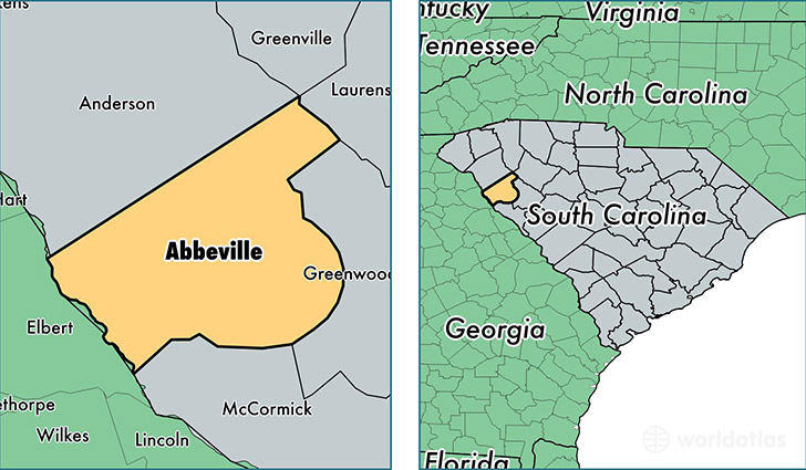 location of Abbeville county on a map