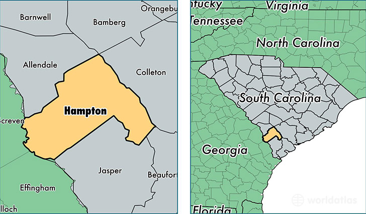 location of Hampton county on a map