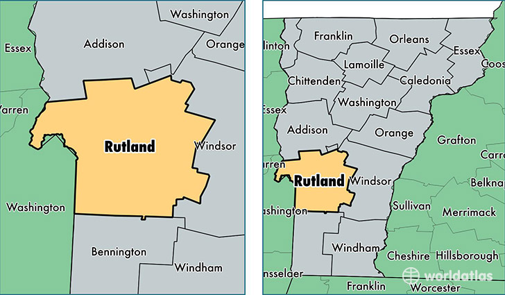 location of Rutland county on a map