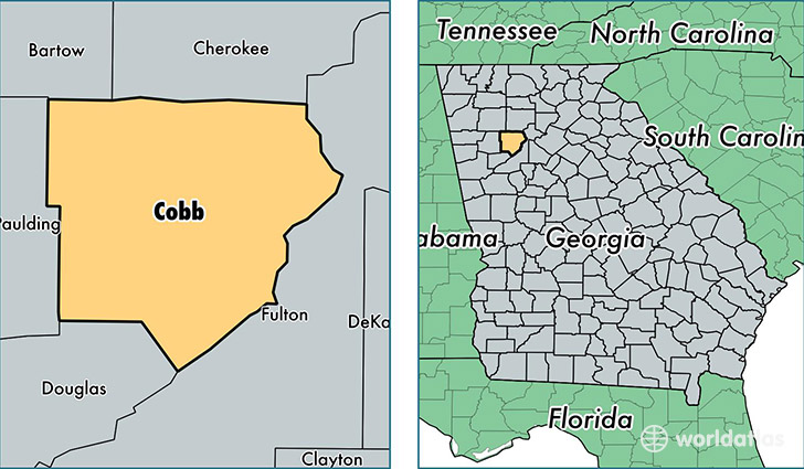 location of Cobb county on a map