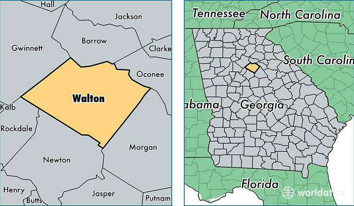location of Walton county on a map