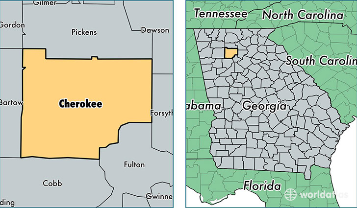 location of Cherokee county on a map