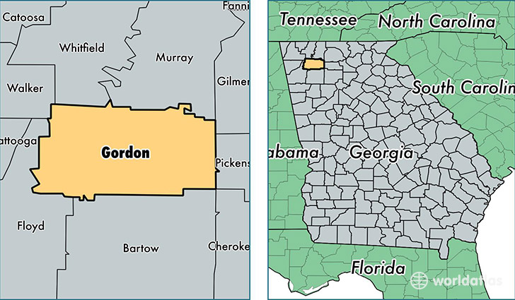 location of Gordon county on a map